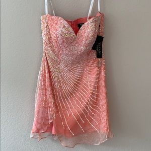 Coral sequin cocktail dress